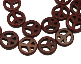 Brown Peace Sign Howlite Beads - 15mm - Sold per strand - #TURQ167