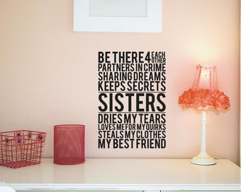 Sisters Customizable vinyl lettering Wall Decal sticker
