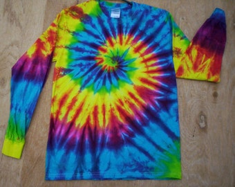 Happy Rainbow Tie Dye Long Sleeve Size Large