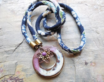 Ceramic and Floral Corded Necklace, Chirimen Japanese Cord, Elaine Ray, Antiqued Brass, Enamel and Copper