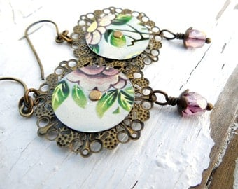 Vintage Tin and Filigree Brass Earrings, Floral, Antiqued Brass, Rustic Jewelry, Riveted