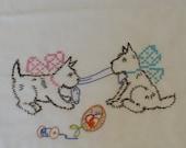 Terriers Tug of War Dish Towel