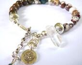OM Clarity and Stamina - Bracelet / Karen Hill Tribe Charm , Green Opal , Wild Horse Magnesite, Crystal Point,Blue Tiger Eye