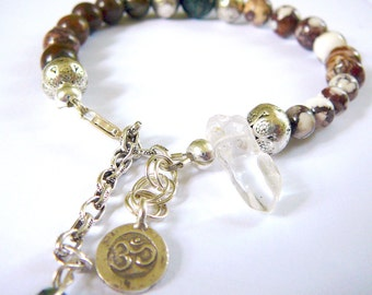 OM Clarity and Stamina - Bracelet / Karen Hill Tribe Charm , Green Opal , Wild Horse Magnesite, Crystal Point,Blue Tiger Eye