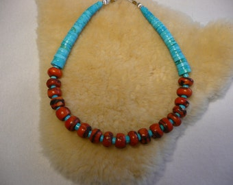 Native American Style Branch Coral Rondells with Turquoise Graduated Heishi