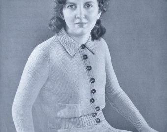Vintage Knitting Pattern 1930s 1940s Women's Girl's Cardigan Jacket Pattern - original pattern 30s 40s - small size