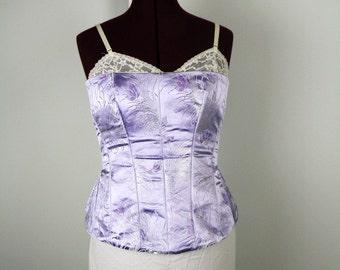 Purple Brocade Bustier, Purple Bustier, Brocade Bustier, Bustier Top, Corset Top