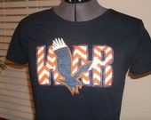 Chevron Applique War with Eagle Orange and white on Navy Blue for Auburn Tshirt