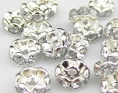 Vintage 10 Lacy Edge Silver Plated Diamond Crystal Spacer 8mm Beads GR8