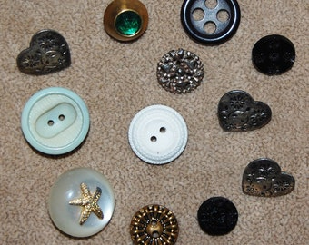 Vintage 12 Mixed Style Buttons P4R
