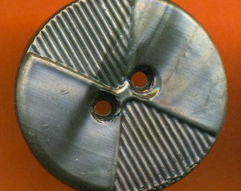 Vintage 2 Art Deco 22mm Silvered Black Glass Carved  Buttons N6R 3