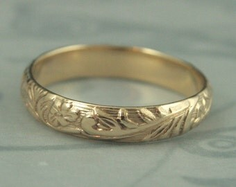 Solid 14K Gold Neoclassic Floral Wedding Band--Solid Yellow Gold Wedding Ring with Flower and Leaf Design--Rounded Band--Made to Size