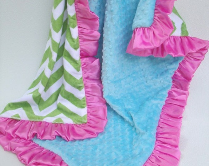 Kiw Green, Hot Pink, and Turquoise Minky Baby Blanket,  Can Be Personalized