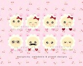 Digital Prints of 8 Kawaii Sheep for Cards, Tags, Scrapbooking, Collage, Stickers, Namecards