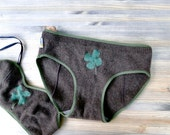 Lucky clover cashmere hipster panties - machine washable in cold water - washable in cold water