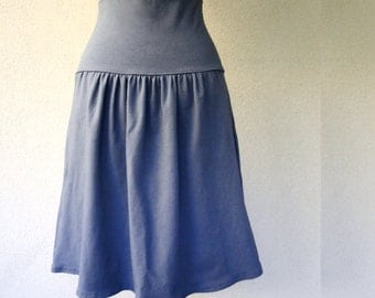Short organic skirt, handmade organic clothing for women, grey skirt, organic cotton skirt, handmade skirt