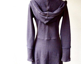 Long hooded sweater dress, organic french terry tunic, handmade organic women's clothing