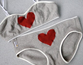 Custom cashmere lingerie set, red heart bra and panties set, wool underwear, handmade lingerie shop