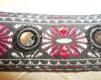 "Mirror Sari Jacquard Ribbon Trim Pink Black Renaissance Woven Belly Dancer Costume 1.25"" Wide x 5 Yards"
