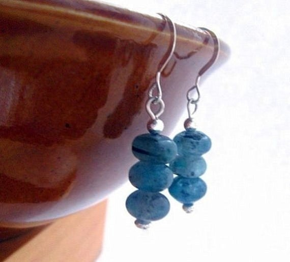 Blue Kyanite Earrings, Sterling Silver.  Natural Stone. Ice Chip