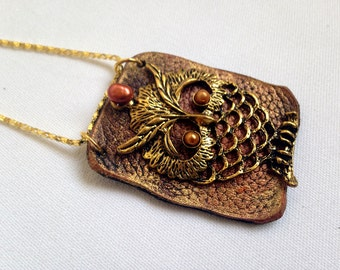 Owl pendant Leather and pearl Statement Necklace Leather jewelry