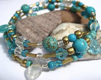 Turquoise bracelet, bohemian bracelet, gypsy style, memory wire bracelet, wrap bracelet, stacking bracelet, fashion jewelry, aqua blue