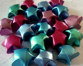 Origami Lucky Stars - Wishing Stars Dreaming Stars Gift Enclosure Table Decor - Cool Shine Set