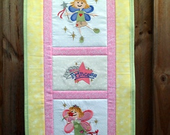 Princess Fairy quilt - Embroidered wall hanging 26 x 13 / personalized / gift for her / girl / room decor / pink / custom / fairies