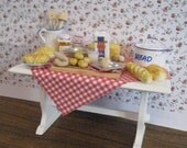 Miniature table, baking table, Cottage table, decorated table , A dollhouse item, twelfth scale