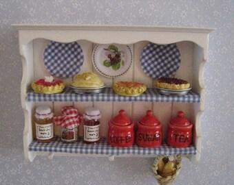 Miniature shelf,filled, dollhouse shelf, kitchen shelf,  country style, twelfth scale, dollhouse miniature
