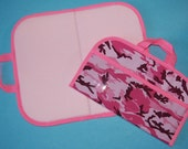 Mini Felt / Flannel Board with handles and storage -Pink Camouflage w/ pink trim