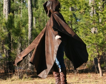 Alligator Pleather Hooded Cape Poncho Garb Duster