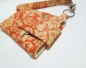 Wristlet Cell phone purse, iphone 7/6s/6/6s plus, samsung galaxy s6/s7/s7 edge/note 5/7 LG g5,nexus 6p -  cream orange damask