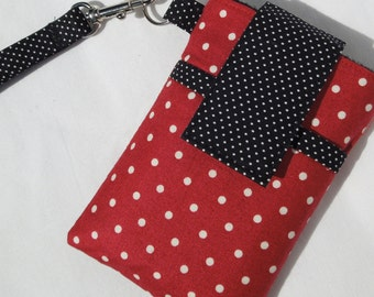 iPhone7 7s plus,6,cover,cellphone purse,Cellphone WRISTLET Cover Moto x/G,LG,HTC,Samsung Galaxy 8, 7, 6,note,Nexus Case sleeve- RedWhite dot