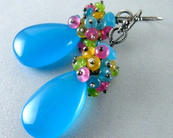 Turquoise Blue Chalcedony and Jade Cluster Sterling Earrings