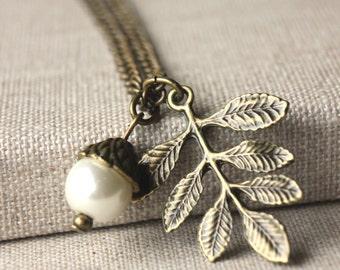 Leaf necklace, antiqued brass leaf pendant, white pearl, handmade jewellery N151