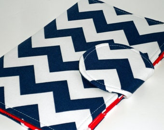 Kindle Cover Nook Cover Kobo Cover Navy Chevron Cardinal Red interior eReader Cover