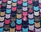 "Scrap - Colorful Cat Faces Navy Blue - 110cm/43""W x 48cm/18""L - (i130910)"