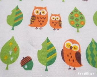 Kawaii Japanese Fabric - Leaves Owls on Off-white - Half Yard (pu130820)