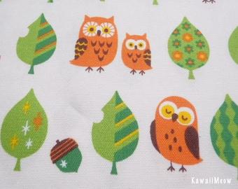 Kawaii Japanese Fabric - Leaves Owls on Off-white - Fat Quarter (pu130820)