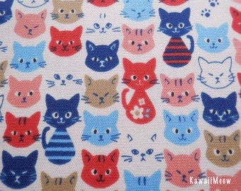 Kawaii Japanese Fabric - Colorful Cat Faces Off-white x Red - Half Yard - (i130910)