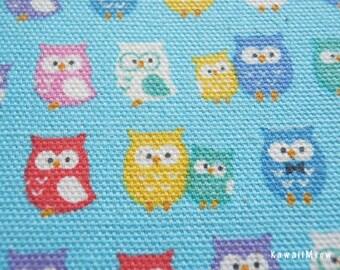 "Scrap - Kokka Colorful Owls Blue - 110cm/43""W x 46cm/18""L - (i130910)"
