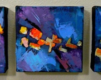 "Abstract Triptych, Small Abstract, Original Oil Abstract ""Confetti Triptych"""