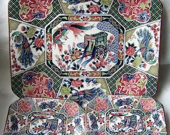 VINTAGE Japanese Plate Set - Tominaga Porcelain Goshoguruma Peacock Floral Motif - CLEARANCE Designer Plate Set