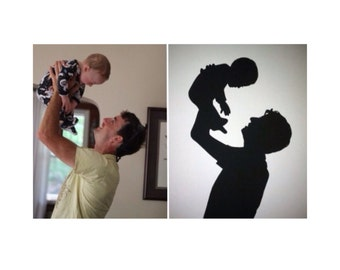 Parent and Child Hand Cut Custom Silhouette