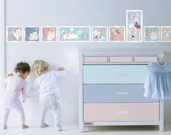 Alphabet Animal Wall Stickers - fabric decal border for children's nursery