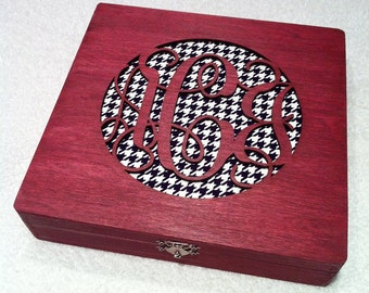 Personalized Monogrammed jewelry  box, cigar box, monogram, name, houndstooth