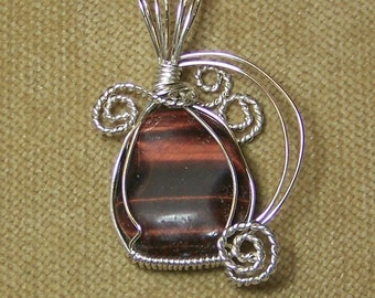 Natural Red TIGER EYE Gemstone Sterling Silver Plate Wire Wrap Necklace Pendant SALE