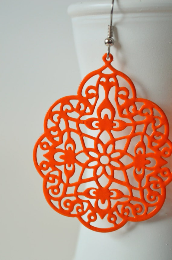 Large Bright Orange Metal Filigree Victorian Boho Earrings Dangle Lace Bohemian Hippie Chic