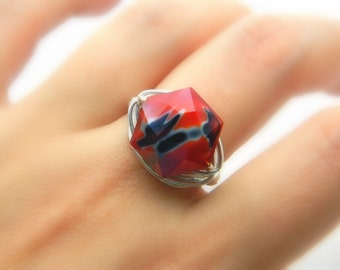 Red and Black RING - To Order - Red, Black White, Unique, Weird, Summer, Hot, Geometric, Two Colors, Fresh Colors, Blocking, Jewelry Rings